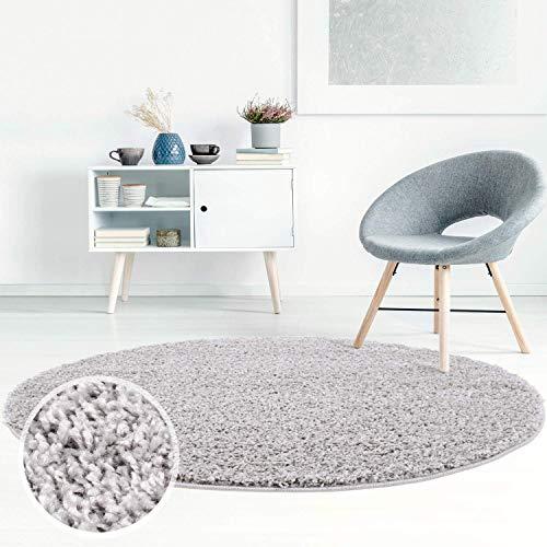 ayshaggy Shaggy Teppich Hochflor Langflor Einfarbig Uni Grau Weich Flauschig Wohnzimmer, Größe: 120 x 120 cm Rund