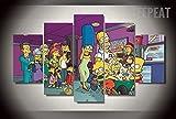 JIONGJIONG 5 Paneles Impresiones Lienzo Pared Modernos Mural Fotos Decoración para Colgar (Marco) Los Simpsons/150 * 80 CM