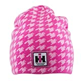 International Harvester Women's Beanie Hat, One Size Winter Hat, Reversible Knit Logo, Officially Licensed, Pink Houndstooth