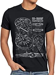 style3 Halcón Milenario Cianotipo Camiseta para Hombre T-Shirt Fotocalco Azul