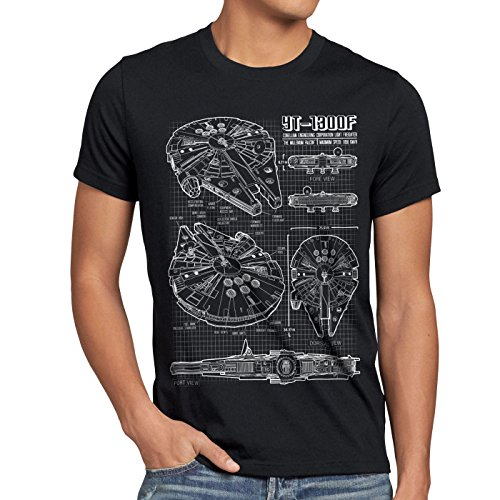 style3 Halcón Milenario Cianotipo Camiseta para Hombre T-Shirt Fotocalco Azul, Talla:L;Color:Nero