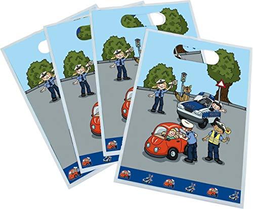 8 Partytüten * POLIZEI * für Mottoparty und Kindergeburtstag von TIB // Kinder Geburtstag Party Fete Set Jungen Tüten Mitgebseltüten Geschenktüten Police Polizist Polizeiauto