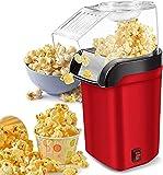 WEADFHZB Máquina para Hacer Palomitas de Maíz, 1200W Maquina de Palomitas con Aire Caliente Sin Grasa Aceita, Maquina Electrica de Popcorn, Popcorn Maker Tapa Removible con Taza (Red)