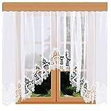 kollektion MT Edler Blumenfenster-Store Safira weiß mit aufwändig eingearbeiteter 19cm breiter Spitzenkante aus Echter Plauener Spitze mit Reihband Fertiggardine