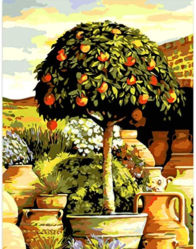 Adult Digital Painting DIY Oil Painting is Suitable for Beginners and New Painters to use Canvas Art kit-Fruit Tree in The Yard 50X40CM-frameless