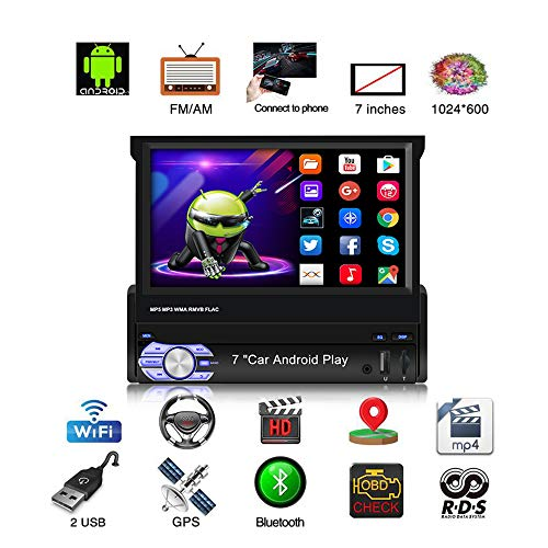 Backup Camera 2G+16G Double Din Android Car Stereo with GPS 7 Inch Capacitance Touch Screen FM Radio Reciever Supports Mirror Link for iOS//Android Phones WiFi Connect