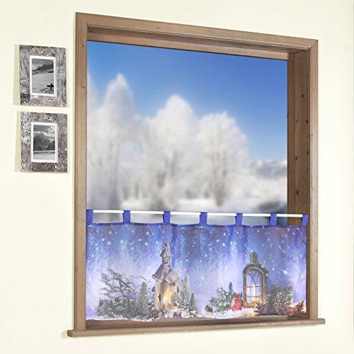heimtexland Scheibengardine Fotodruck Weihnachten 45x120 cm Voile transparent Weihnachtsgardine Bistrogardine mit Schlaufen Weihnachtslaterne ÖKOTEX Gardine Typ497