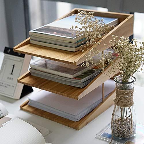 WWJYY Ablagefächer Briefablage Ordnungssystem, Dokumentenablage Holz, A4 Papierfach, Büro, Schreibtisch, flach, Briefablage aus Bambus Natur
