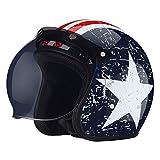 LWAJ Classic Jet Moto Scooter Vintage Casque, Enfants, Hommes, Femmes Retro Jet Moto Chopper Cruiser Scooter Helmet Une Variété De Styles à Choisir Convient (54-59cm)
