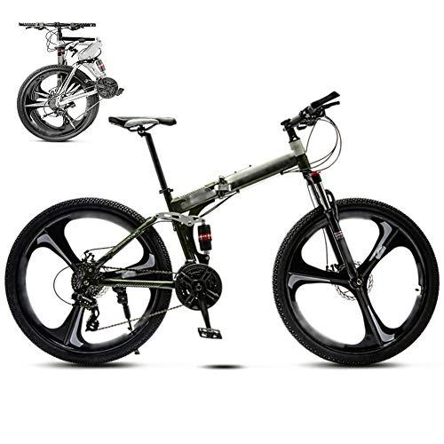 YRYBZ 24 Pulgadas 26 Pulgadas Bicicleta de Montaña Unisex, Bici MTB Adulto, Bicicleta MTB Plegable, 30 Velocidades Bicicleta Adulto con Doble Freno Disco/Verde/A Wheel / 26''