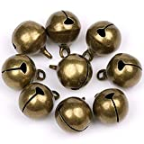 SunEast, 50 piezas de cascabeles de bronce antiguo, campanas de metal para manualidades, cascabeles musicales a granel, para decoración de Navidad, festivales, bricolaje, bisutería, 8mm, 8 mm