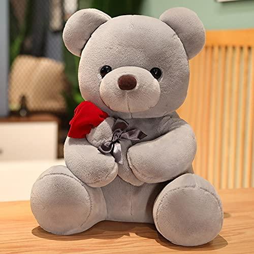 AYQX 25cm-45cm Lovely Hug Roses Bear Peluche Cuscino Peluche Bambole Bel Regalo di Compleanno per Bambine Bambole Decorazione della casa 45 cm Grigio