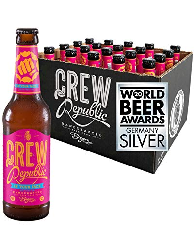 CREW REPUBLIC® In Your Face - West Coast IPA Craft Bier | Platin Award American India Pale Ale 2019 | Hopfig & Trocken | Bierspezialität nach deutschem Reinheitsgebot in Bayern gebraut (20 x 0,33l)