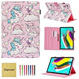 Galaxy Tab S5e 10.5 Inch 2019 Smart Case with Auto Sleep/Wake, Elepower [3D Print] Slim Fit Folio Flip Stand with Card/Money Slots Case Cover for Samsung Galaxy Tab S5e T720/T725, Baby Unicorn