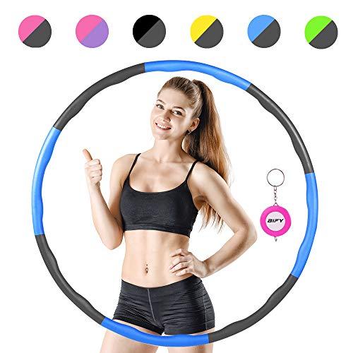 BIFY Hula Hoop Fitness per la perdita di peso, 8 parti rimovibili, peso e dimensioni possono essere regolati, design a onde con funzione di massaggio, migliore perdita di peso e fitness,