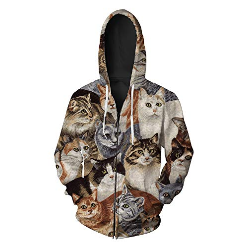 Men's Hooded 3D Digital Print Cat Group Pattern Zip-up Sports Outwear Cardigan Hoodies(2XL, Brown)