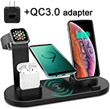 KG8 4 in 1 Wireless Charger Stand,QI Fast Wireless Charging Station Dock for Apple Watch 5 4 3 2 1,Airpod,iPhone 11 11 Pro Xs XR Max X 8 Plus 8,Samsung Galaxy S9 S8,LG