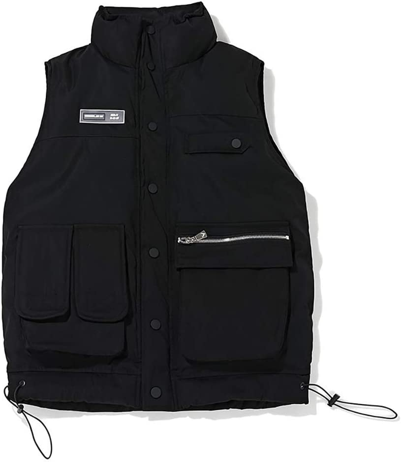 FHK Men's Autumn and Winter Multi-Pocket Solid Color Casual Vest Workwear Jacket (Color : A, Size : L)