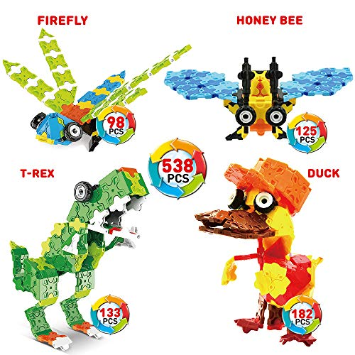 WEofferwhatYOUwant Stem Construction Building Flatblocks - 3D Puzzle of Flat Block Figures Level 2 Insects and More. 538 Pieces. Ages 5 years and up. Collect them all.
