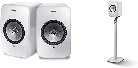 KEF Surround Powered Bluetooth Speaker Set of 2 White (LSXWH) Bundle with KEF Lsx S1 Floorstand (White, Pair)
