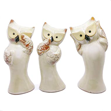 Gishima Set of 3 Wise Ceramic Owl Figurines Hear No Evil, See No Evil and Say No Evil Owl Statues Home Decor Accessories Gift