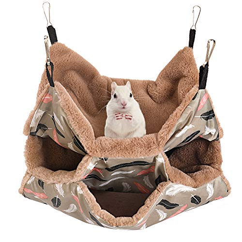 bokemar Small Animals Warm Plush Triple Bunkbed Cage Hanging Hammock Bed,Guinea Pig Cage Accessories Bedding, Warm Hammock for Parrot Ferret Squirrel Hamster Rat Playing Sleeping