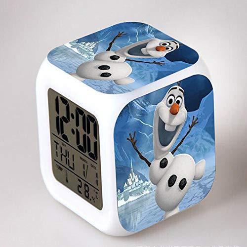 shiyueNB Elsa Snowman Olaf LED Flash Chaging Relojes de Alarma Digital Dormitorio para niños Relojes con luz Nocturna