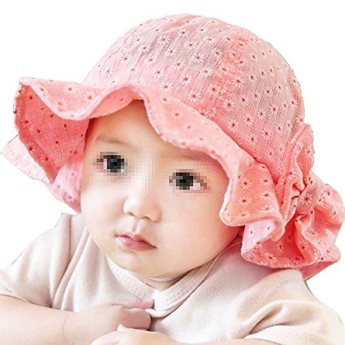 ZUMUii Butterme Motif Floral Mignon Coton Chapeau de Soleil Chapeau de Bébé Large Brim Seau Chapeaux pour Unisexe du Nouveau-né Bébé