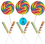 24 Lollipops Rainbow Variety Mega Pack - Homeschool Stay-at-Home Treats for Kids | 12 Twisty Pops and 12 LARGE Swirl Suckers 3' Diameter - Birthday Party Favors - NONE BROKEN 24 Pack