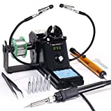 YIHUA 926 III 60W Digital Soldering Iron Station, with 2 Helping Hands, 194ºF~896ºF Adjustable Precise Temp, °C/ºF switch, Sleep & Calibration Functions + 6 Extra Solder Tips, Solder sucker &Tweezers