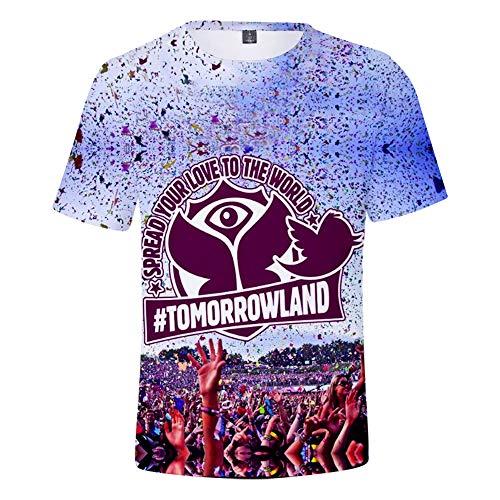CCTXUE Magliette T-Shirts Stampa 3D Uomo Donna Neutro Tops Poliestere/Cotone Rapida Asciugatura Rapida Ventilazione Soft Casual Maniche Corte Girocollo Tomorrowland XS