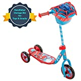 Huffy Bicycle Company Marvel Spider-Man Secret Storage 3 Wheel Scooter, Soft Blue, 37'