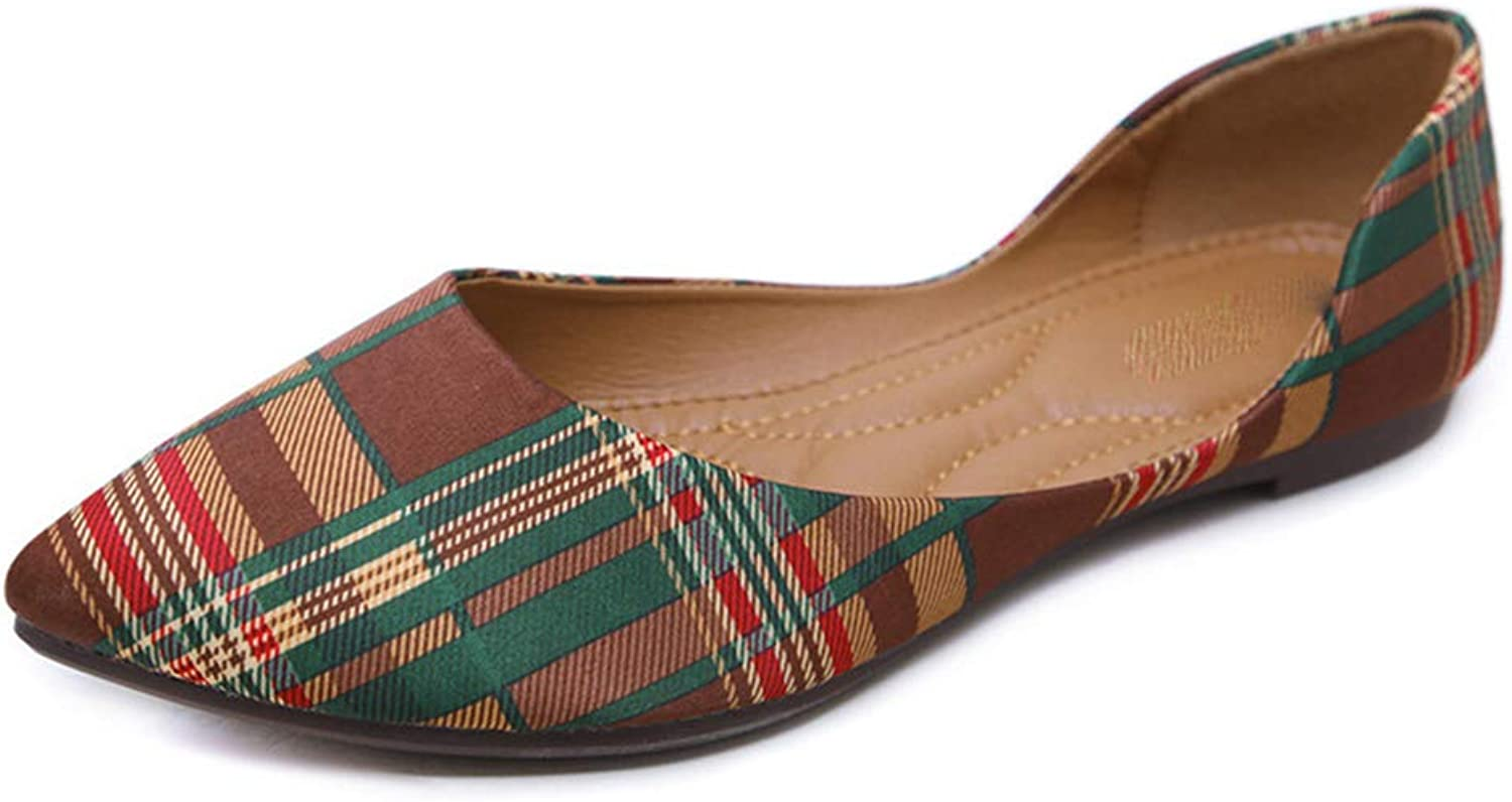 Qi meims Women's Flats Plaid British Retro Style Low-Heeled Slip-on Pointed-Toe Casual Comfortable Outdoor Girl shoes