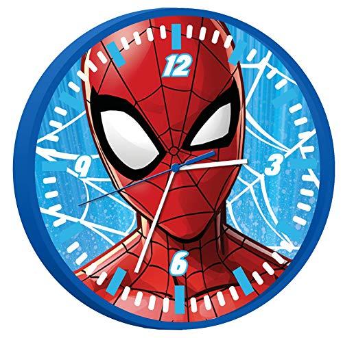 Kids Licensing | Spiderman Wanduhr | Kinderuhr | Analog | Mehrfarbig | Einfach zu lesen | Stunden Lernen | 25 cm Durchmesser | Einfache Installation | Funktioniert mit AA-Batterien