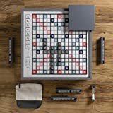 WS Game Company Scrabble Deluxe Designer Edition with Rotating Wooden Game Cabinet