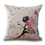 DWE - Funda de cojín de tejido de algodón, 45 cm, diseño mágico de mariposas y...