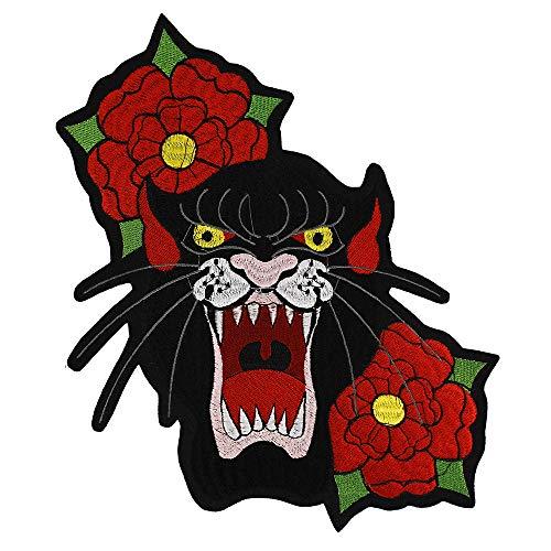 EMDOMO Borduurwerk Luipaard Patches Bloem Applique Jas Terug Badges Ijzer op Stickers Kleding DIY Jas Jeans Badge 2 stuks