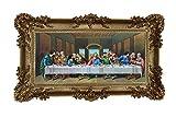 Made in Italy Barock Gemälde Bild mit Rahmen Repro Antik Look Jesus 12 APOSTEL Ultima Cena 96x57cm (Gold)