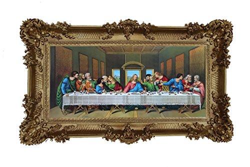 Made in Italy Cuadro de pintura barroca con reproducción de marco de aspecto antiguo, Jesús con 12 apóstoles, Última cena, 96 x 57 cm
