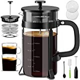 Upgraded French Press Coffee Maker - 34 oz French Coffee Press Set Includes Coffee Cups/Milk Frother Coffee Press with 4 Filters Screen 304 Stainless Steel Heavy Duty Heat Resistant Glass | BPA FREE