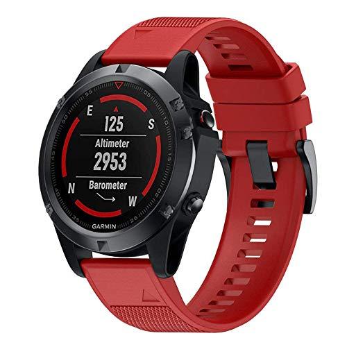 Pulseira de silicone ajustável de substituição de 22 mm para Garmin Instint, Fenix 5/5 Plus, Forerunner 935, Quatix 5/5 Zafiro, D2 Delta, Approach S60 Smartwatch, Vermelho