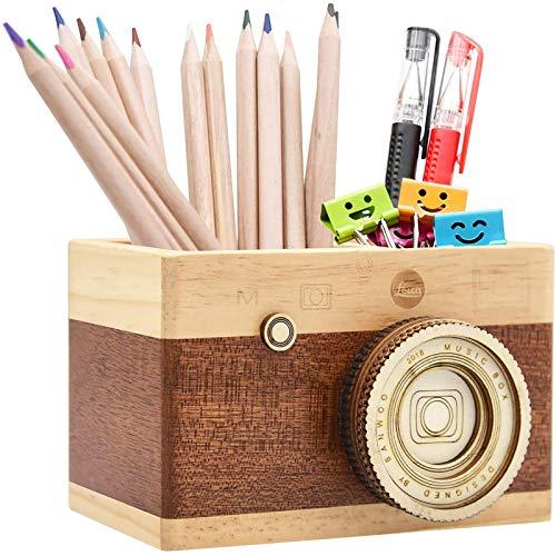 Stifthalter aus Holz, Novelty Kamera Stifthalter für Schreibtisch Büro & Wohnkultur, Geschenk für Geburtstag und Abschlusstag Etc.