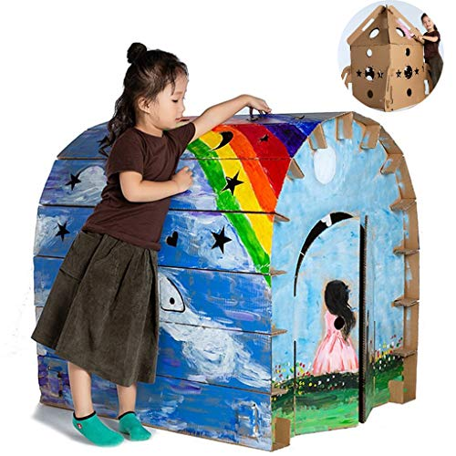 Graffiti Diy Game House, Kindertent, Kartonnen Speelhuisje Opvouwbaar Gegolfd Diy Schilderij Spel, Kind Buiten Binnenshuis Diy Schilderij Verbeelding Speelgoed Speelhuis, Handgemaakt