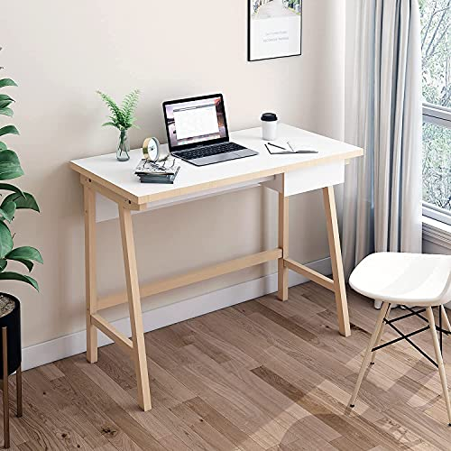 FRSTONE Pine Wooden Home Office Desk White Oak 39.3 x 29.5 Inch Computer Desk with Storage Drawer for Studing, Writing, Simple Style Study Table, Console Laptop Table, White Desktop