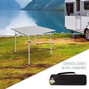 Aktive 52840 Table Pliable en Aluminium 70 x 70 x 70 cm Camping