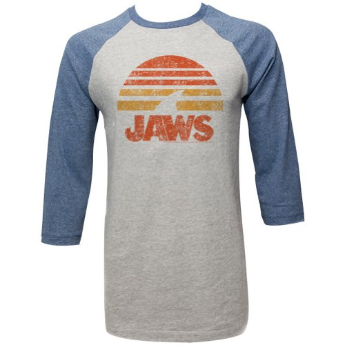 Jaws - - Shark Sun Raglan Homme, Large, Concrete/Denim