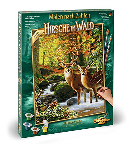 Schipper 609130810 Malen nach Zahlen, Hirsche im Wald - Bilder malen für Erwachsene, inklusive Pinsel und Acrylfarben, 40 x 50 cm