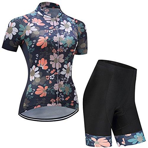 GWELL Damen Blumen Radtrikot Atmungsaktive Fahrradbekleidung Set Trikot Kurzarm + Radhose mit Sitzpolster MTB Radsportanzug dunkelblau XL