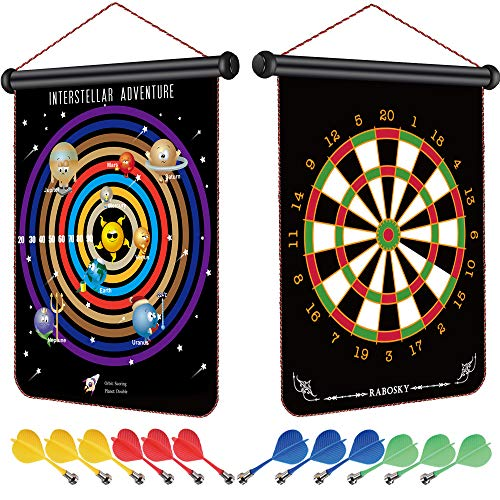 RaboSky Magnetic Dart Board for Kids, Cool Toy Gifts for 6 7 8 9 10 11 12+ Year Old Boys, Fun Teen Boys Christmas Birthday Gifts Ideas, Safe Party Games, Double-Sided, 12pcs Darts, Space-Adventure