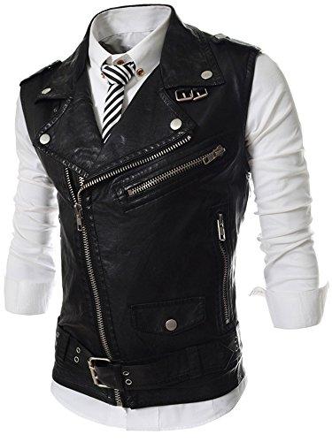 REYUY Men's Sleeveless Motorcycle Jacket Vest Faux Leather Waistcoat (US XS/Label L, Black)